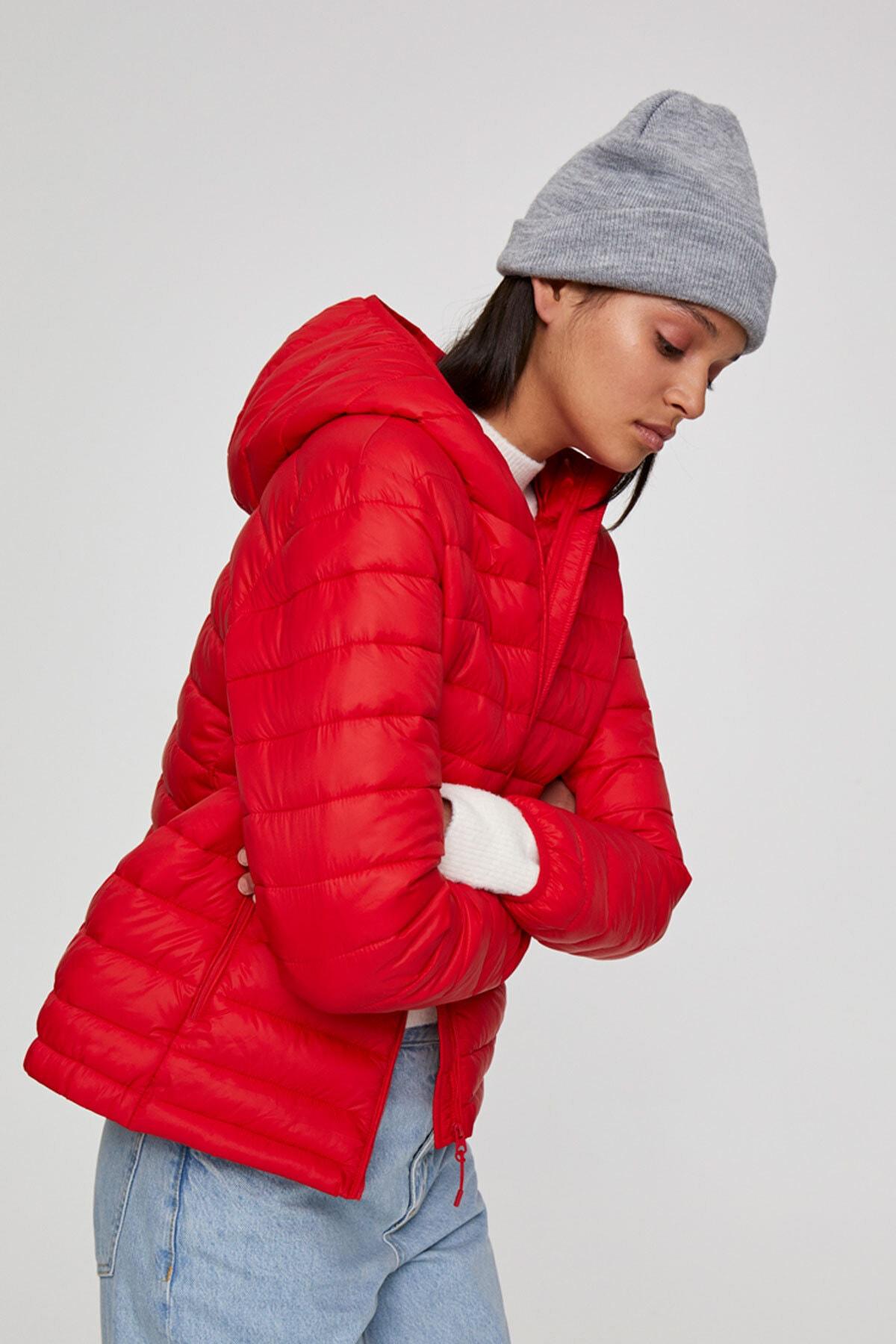 Pull & Bear Kadın Açık Kırmızı Basic Şişme Mont 09714333 3
