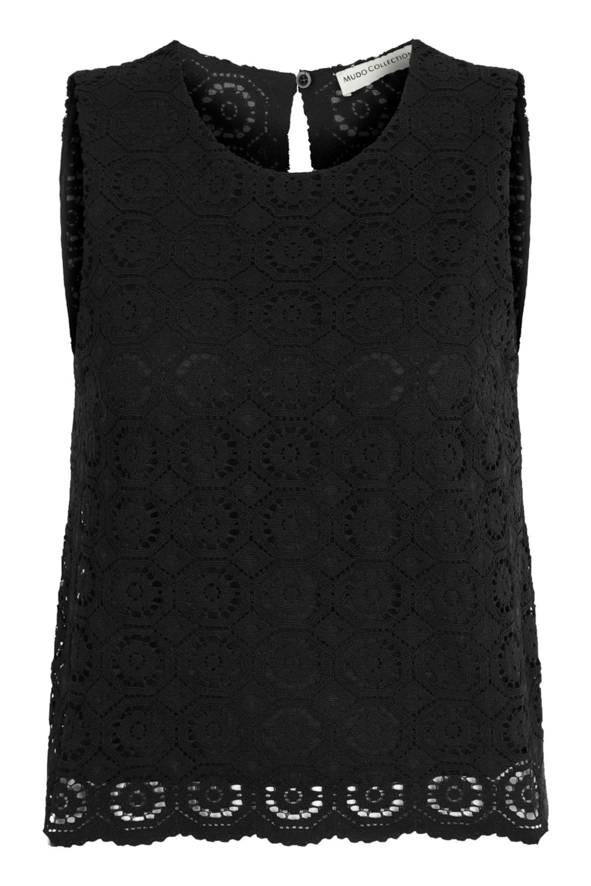 Kadın Siyah Dantelli Bluz 1216790