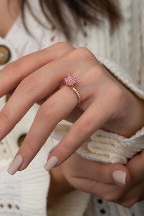 Papatya Silver 14k Rose Altın Kaplama Pembe Zirkon Taşlı Lotus Çiçeği Kadın Yüzük 0