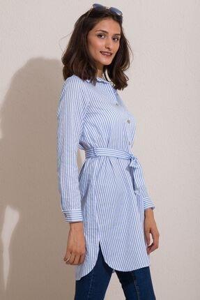 Kadın Modası Kadın Bebe Mavi Düğmeli Kuşaklı Çizgili Tunik 2