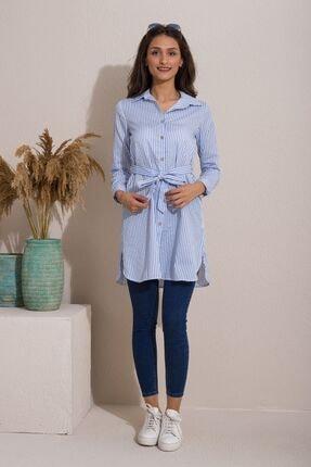 Kadın Modası Kadın Bebe Mavi Düğmeli Kuşaklı Çizgili Tunik 3