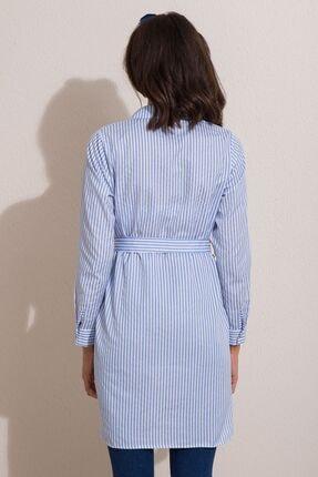 Kadın Modası Kadın Bebe Mavi Düğmeli Kuşaklı Çizgili Tunik 4