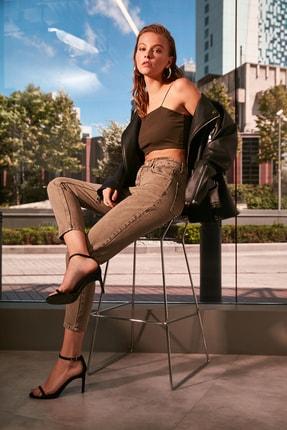 TRENDYOLMİLLA Haki Yıkamalı Yüksek Bel Mom Jeans TWOAW21JE0262 2