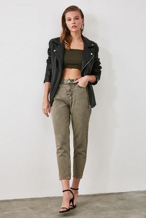 TRENDYOLMİLLA Haki Yıkamalı Yüksek Bel Mom Jeans TWOAW21JE0262 3