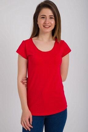 Kadın Modası Kadın Kırmızı Kesik Biyeli Bisiklet Yaka Tek Cepli T-shirt 0
