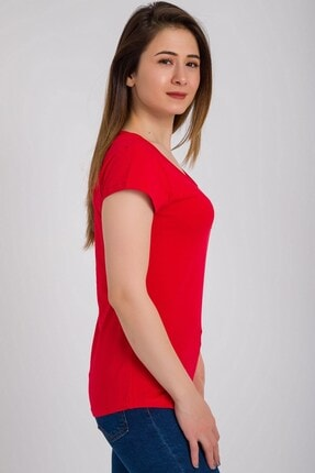 Kadın Modası Kadın Kırmızı Kesik Biyeli Bisiklet Yaka Tek Cepli T-shirt 2