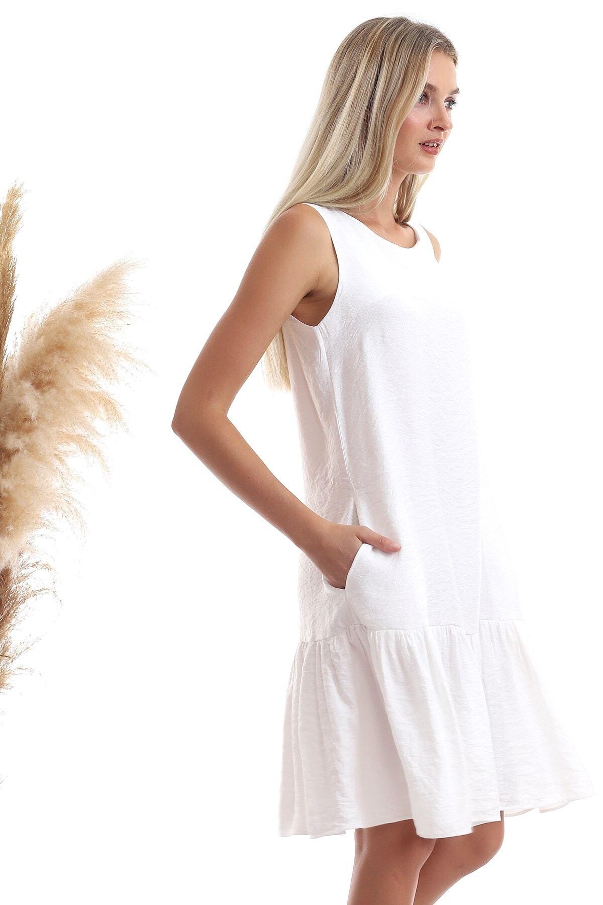 Cotton Mood Kadın Ekru Keten Eteği Fırfırlı Cepli Kolsuz Elbise 20333433