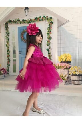 Buse&Eylül Bebe Kız Çocuk Fuşya Pul Payet  Elbise 2
