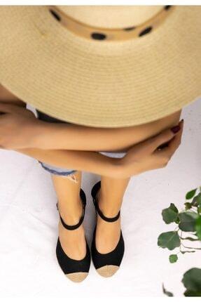Güven RT Kadın Siyah Keten Dolgu Topuk Sandalet 1