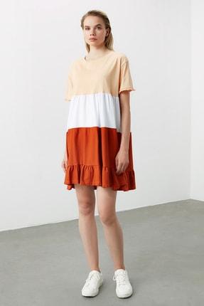TRENDYOLMİLLA Bej  Elbise Renk Bloklu Örme Elbise TWOSS20EL1638 1