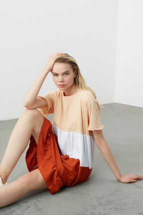 TRENDYOLMİLLA Bej  Elbise Renk Bloklu Örme Elbise TWOSS20EL1638 3