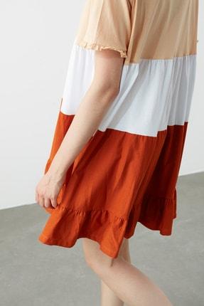TRENDYOLMİLLA Bej  Elbise Renk Bloklu Örme Elbise TWOSS20EL1638 4