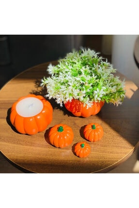 bifra Turuncu Balkabağı Saksıda Mum Ve Yapay Çiçek 5li Set 2