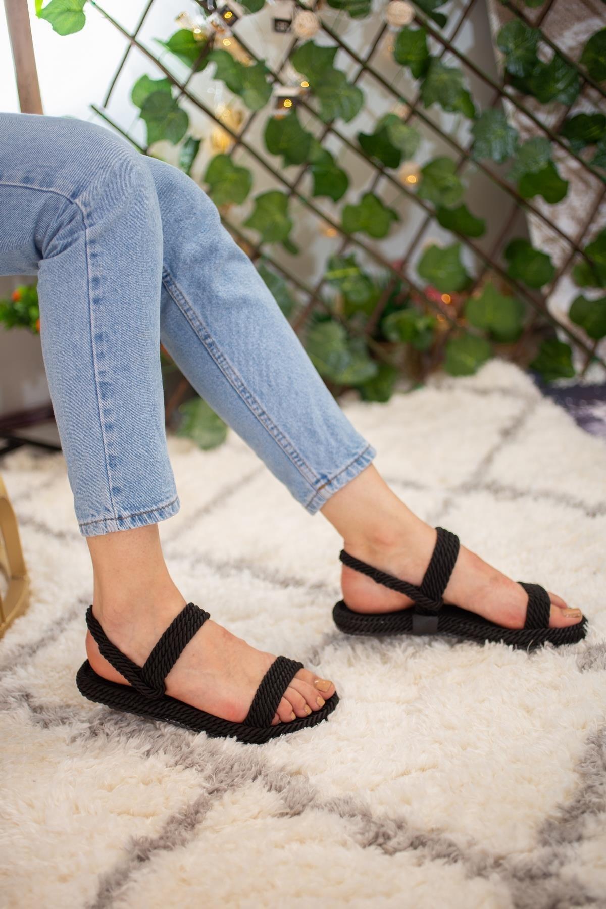 Limoya Siyah Halat Sandalet Basic