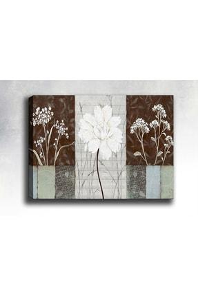 Shop365 Dekoratif Beyaz Çiçekler Kanvas Tablo 90 X 60 cm 0