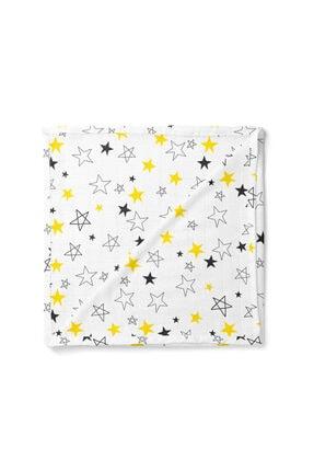 Lunanino Bebek Beyaz Sarı Yıldız Sarı Çok Amaçlı Müslin Battaniye 0
