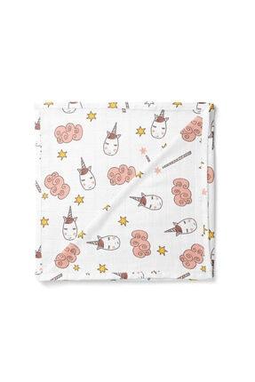 Lunanino Bebek Pembe Unicorn Çok Amaçlı Müslin Bebek Battaniyesi 0