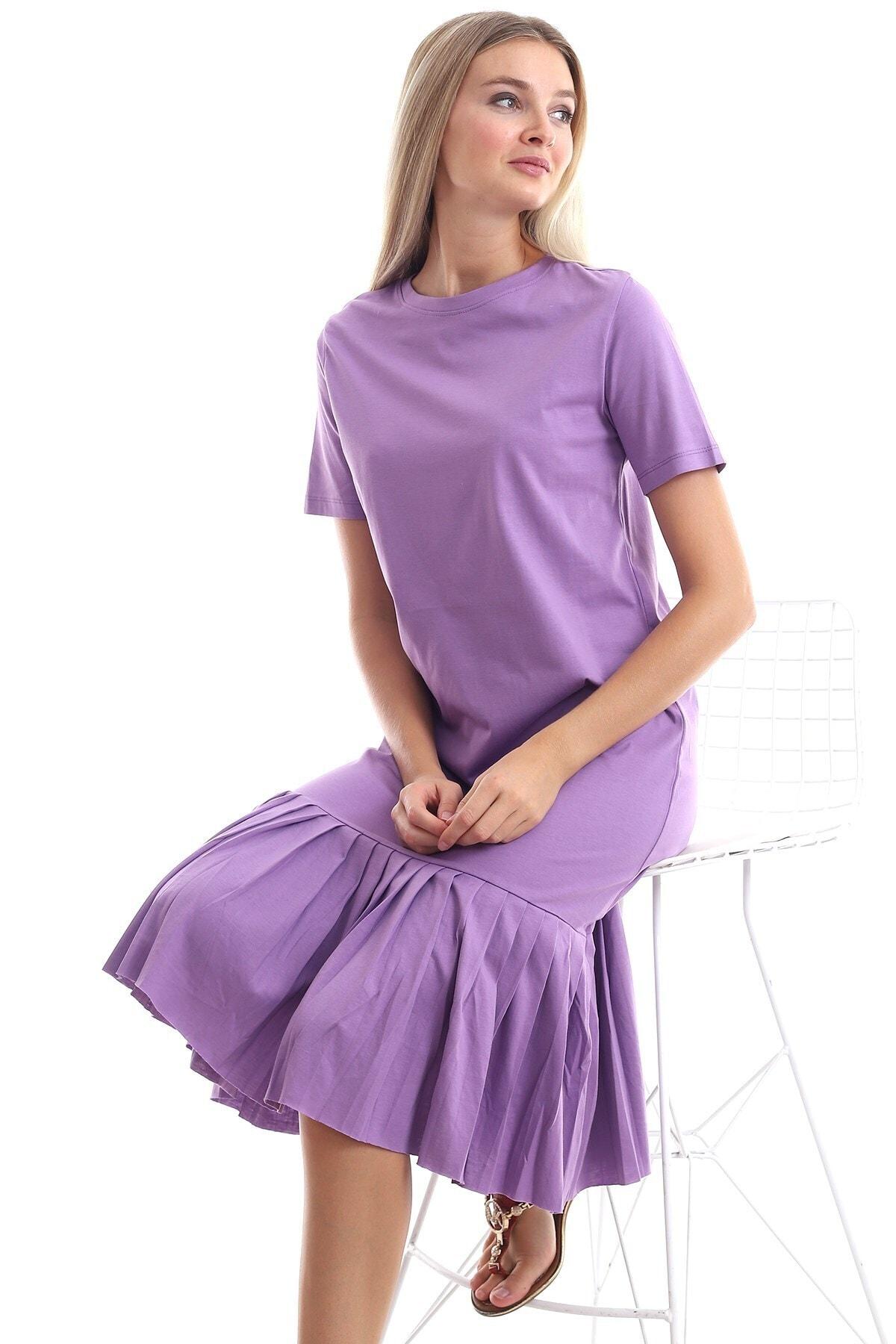 Cotton Mood 9303044 Süprem Eteği Pliseli Kısa Kol Elbise Lıla