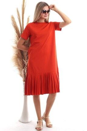 Cotton Mood Kadın Turuncu Süprem Eteği Pliseli Kısa Kol Elbise 9303044 1