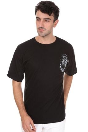 Millionaire Erkek Siyah Kurt Baskılı Oversize T-shirt 2