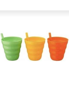 moniev Miyuhome 3lü Pipetli Bardak Plastik Çocuk Bardağı 0