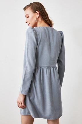 TRENDYOLMİLLA Mavi Düğme Detaylı Kadife Elbise TOFAW19ST0191 3