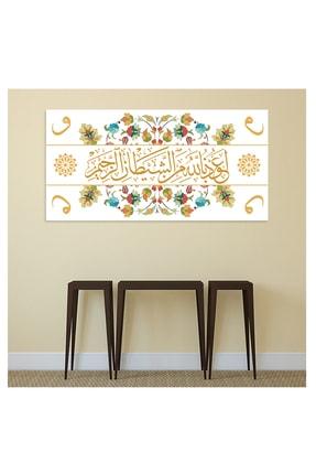 Nazenin Design Euzu Besmele Yazılı Dini Islami Kanvas Tablo (100x70 Cm Ölçü) Dev Boyut 1