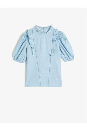 Koton Kız Çocuk Mavi Pamuklu Kısa Kollu Fırfırlı Gömlek 0