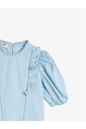 Koton Kız Çocuk Mavi Pamuklu Kısa Kollu Fırfırlı Gömlek 2