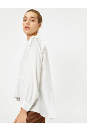 Koton Kadın Ekru Uzun Kollu Fırfırlı Bluz 1