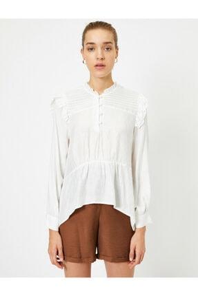 Koton Kadın Ekru Uzun Kollu Fırfırlı Bluz 2