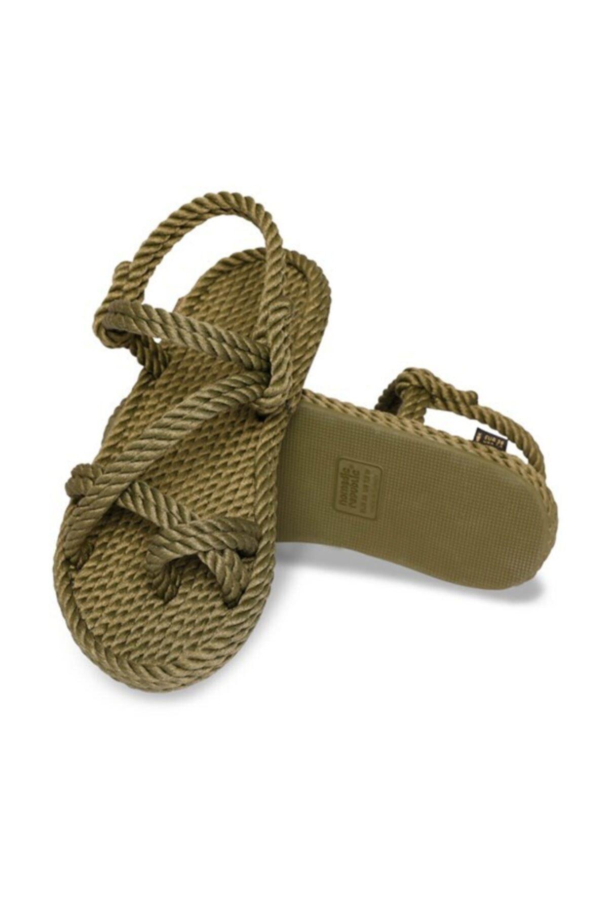 Nomadic Republic Capri Kauçuk Tabanlı Kadın Halat Sandalet – Haki