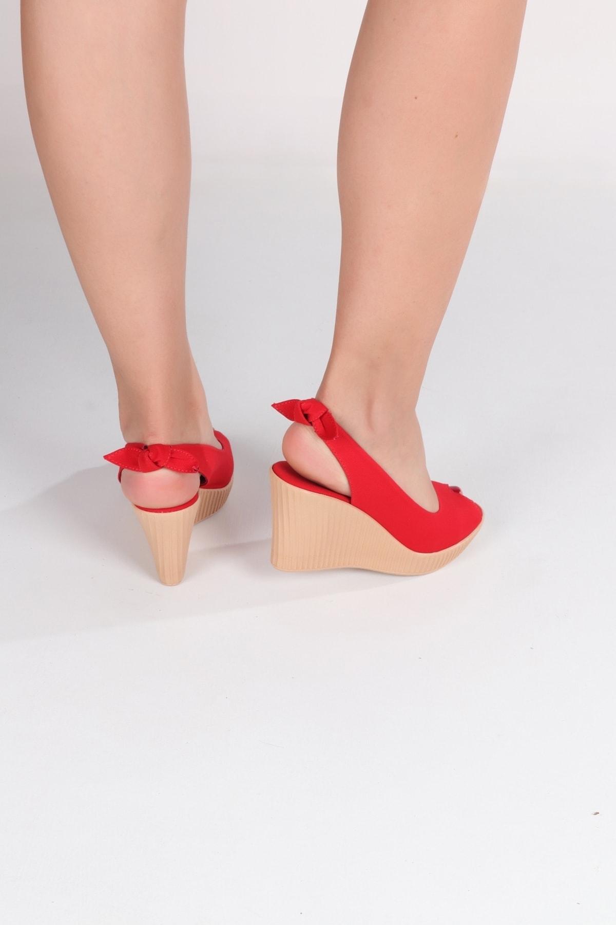 Lanina Kadın Kırmızı Dolgu Taban Sandalet