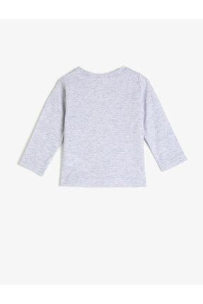 Koton Kız Bebek Gri Bisiklet Yaka Uzun Kollu T-Shirt 1