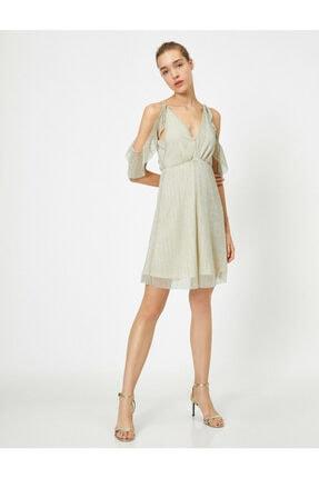 Koton Parlak Elbise Abiye V Yaka Omzu Açik Mini 0