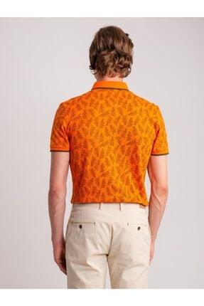 Dufy Erkek Turuncu Desenli Yumuşak Yaka Pamuklu Polo Yaka T-Shirt 2