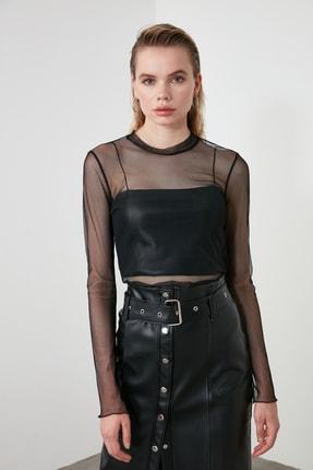 TRENDYOLMİLLA Siyah Tül Örme Bluz TCLSS19FV0052 1