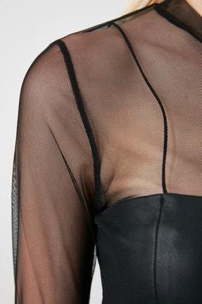 TRENDYOLMİLLA Siyah Tül Örme Bluz TCLSS19FV0052 2