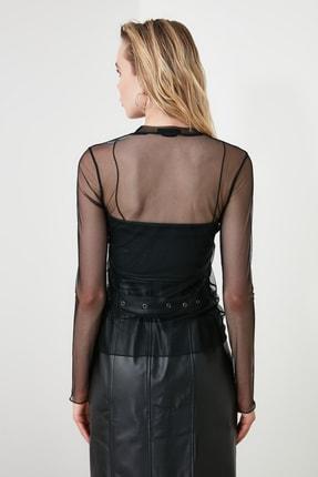 TRENDYOLMİLLA Siyah Tül Örme Bluz TCLSS19FV0052 3