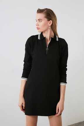 TRENDYOLMİLLA Siyah Fermuarlı Örme Sweat Elbise TWOAW20EL1194 0
