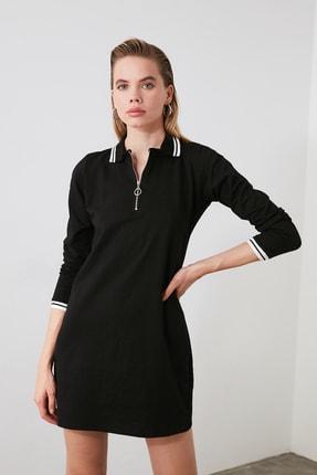 TRENDYOLMİLLA Siyah Fermuarlı Örme Sweat Elbise TWOAW20EL1194 1