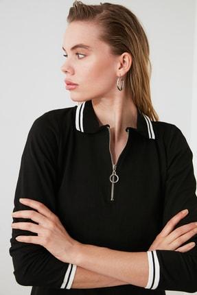TRENDYOLMİLLA Siyah Fermuarlı Örme Sweat Elbise TWOAW20EL1194 2