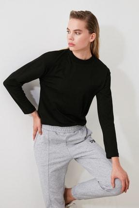 TRENDYOLMİLLA Siyah Uzun Kollu Dik Yaka Örme T-shirt TWOAW20TS0233 1