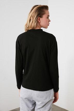 TRENDYOLMİLLA Siyah Uzun Kollu Dik Yaka Örme T-shirt TWOAW20TS0233 3