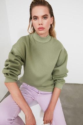 TRENDYOLMİLLA Mint Dik Yaka Loose Örme Sweatshirt TWOAW20SW0584 0
