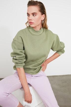 TRENDYOLMİLLA Mint Dik Yaka Loose Örme Sweatshirt TWOAW20SW0584 1