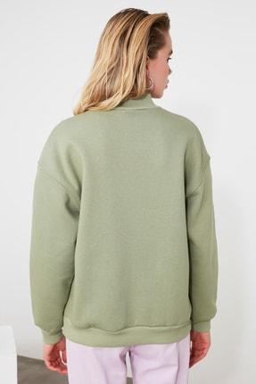 TRENDYOLMİLLA Mint Dik Yaka Loose Örme Sweatshirt TWOAW20SW0584 3