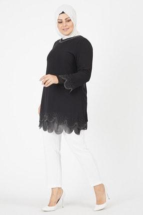 EZEL Kadın Kol Ve Etek Ucu Taş İşlemeli Tunik 3
