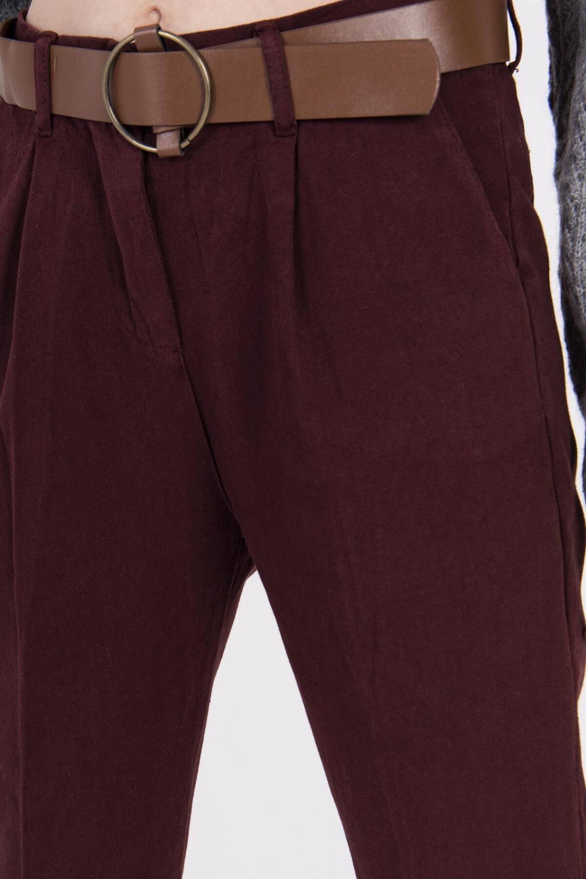 Addax Kadın Bordo Kemerli Pantolon PN4204 - B6 - A6 ADX-0000020952 2