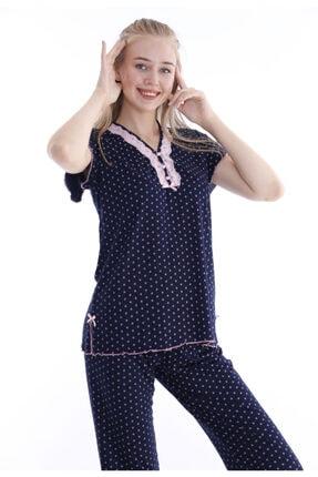 Huq Moda Kadın Pembe Puantiyeli Lacivert Pijama Takımı Kısa Kol 1